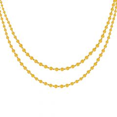 Classic Round Ball Textured Layered Yellow Gold Necklace