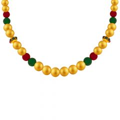 Traditional Gold Gemstone Bead Mala Necklace