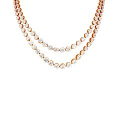 Sparkling Cluster Layered CZ Gold Necklace