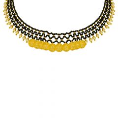 Classic Textured Paisley Bead Gold Necklace