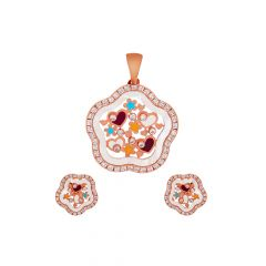 Stylish Charming Floral Heart Synthetic Mother Of Pearl CZ Pendant Sets