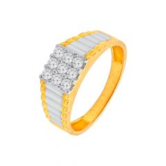 Sparkling Grooved Textured Diamond Ring For Him