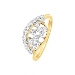 Glittering Curve Checker Diamond Ring