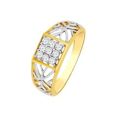 Glittering Cutout Nine Diamond Gold Ring For Him