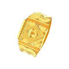 Classic Lotus Textured Gold Ring For Him