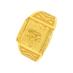 Traditional Textured Floral Gold Ring For Him