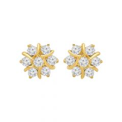 Traditional Cluster Diamond Gold Earrings