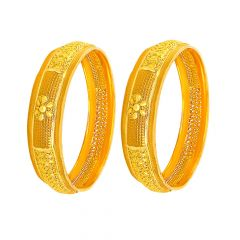 Traditional Embossed Floral Gold Bangle (Set Of Two)