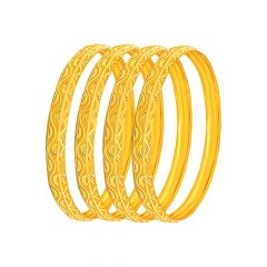 Classical Textured Gold Bangle (Set Of Four)