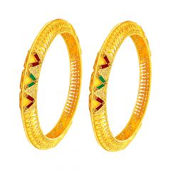 Classical Textured Enamel Filigree Gold Bangle (Set Of Two)
