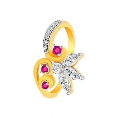 Elegant Gemstone Leaf CZ Diamond Ring
