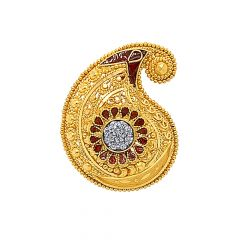 Traditional Embossed Enamel Paisley Adjustable Gold Ring