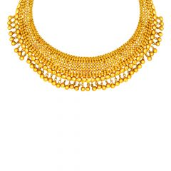Ceremonial Embossed Bead Ball Gold Necklace
