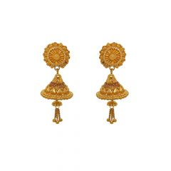 Classical Textured Floral Jhumka Gold Earrings