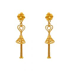 Classical Textured Floral Cutout Dangler Gold Earrings