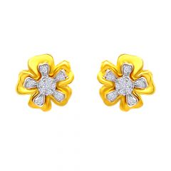Blossom Floral Cluster CZ Gold Earrings