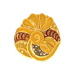 Traditional Paisely Enamel Gold Ring