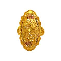 Traditional Embossed Paisley Gold Ring