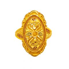 Traditional Embossed Textured Gold Ring
