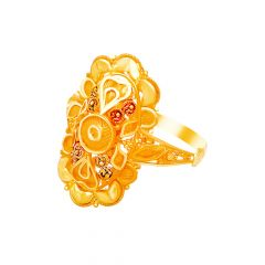 Traditional Textured Embossed Enamel Gold Ring