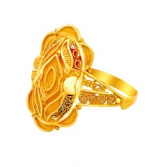 Classic Embossed Enamel Gold Ring