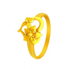 Elegant Floral Leaf Gold Ring