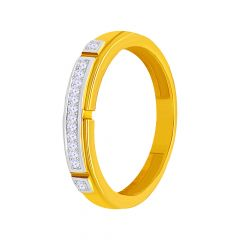 Delicate Cluster CZ Gold Band