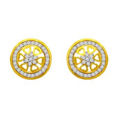 Delicate Cluster CZ Floral Gold Earrings