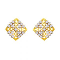 Classy Checker CZ Gold Earrings