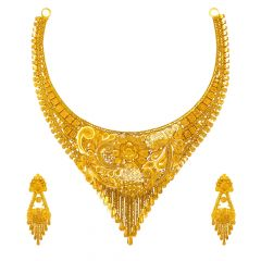 Traditional Textured Embossed Floral Gold Necklace Set