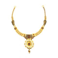 Traditional Enamel Paisley Floral Gold Necklace Set