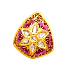 Ceremonial Enamel Textured Floral Kundan Gold Ring