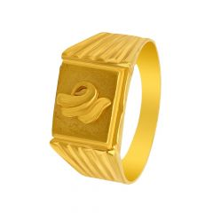 Traditional Embossed Leaf Gold Ring For Him