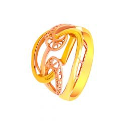 Trendy Cutout Two Tone Gold Rings