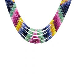 Natural 288 Carat Faceted Multicolour Sapphire Bead Multistrand Gemstone Necklace
