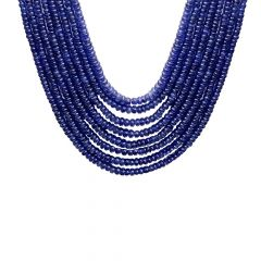 Natural 749 Carat Faceted Blue Sapphire Bead Multistrand Gemstone Necklace