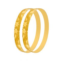Traditional Textured Floral Gold Bangle (Set Of Two)