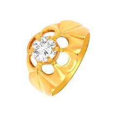 Elegant Cutout CZ Gold Ring For Him