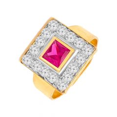 Elegant Cluster Gemstone CZ Gold Ring For Him