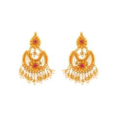 Ceremonial Textured Floral Gemstone Chandbali Gold Earrings