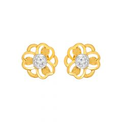 Elite Single CZ Floral Gold Earrings