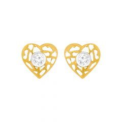 Elegant Heart Cutout CZ Gold Earrings
