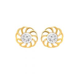 Bloom Floral Single CZ Gold Earrings