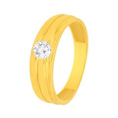 Delicate Textured Single CZ Gold Ring