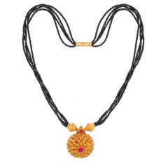 Classical Textured Floral Gemstone Gold Mangalsutra