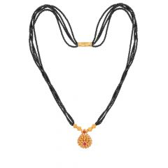 Traditional Textured Drop Gemstone Gold Mangalsutra