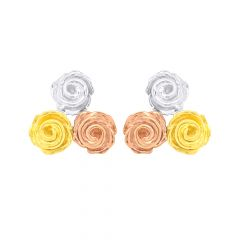 Blossom Three Tone Floral Gold Earrings