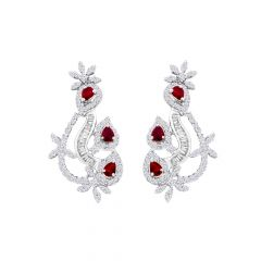 Glittering Curved Ruby Gemstone Diamond Earring