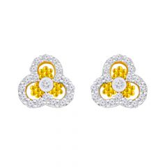 Trendy Traditional Clutter Gold CZ Diamond Gold Earring