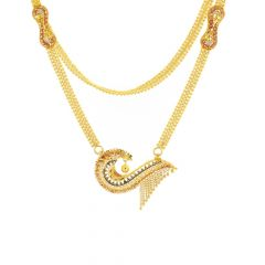 Asymmetrical Traditional Embossed Gold Chain Necklace
